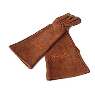 Rose Pruning Gloves for Men and Women. Thorn Proof Goatskin Leather Gardening Gloves with Long Cowhide Gauntlet to Protect Your Arms Until the Elbow (Extra Small, Brown)