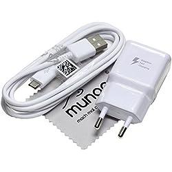 Chargeur Flash rapide pour d'origine Samsung 2A + 1,5 m câble de charge de données USB pour Samsung Galaxy Tab A 9.7 (T550/T555), Galaxy Tab A 10.1 (T580/T585) avec chiffon de nettoyage mungoo
