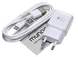 Ladegerät für Original Blitz Schnell Samsung 2A USB Daten Ladekabel für Samsung Galaxy Tab A 9.7 (T550/T555), Samsung Galaxy Tab A 10.1 (T580/T585) mit mungoo Displayputztuch