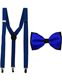 Royal Blue Y-Back Suspender With Bow Tie Combo For Men