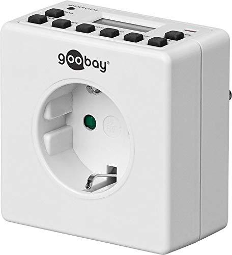 Goobay Digitale Wochenzeitschaltuhr Zeitschaltuhr präzise Steuerung von elektronischen Geräten mit unauffälligem Design, 1 Stück, weiß, 93256