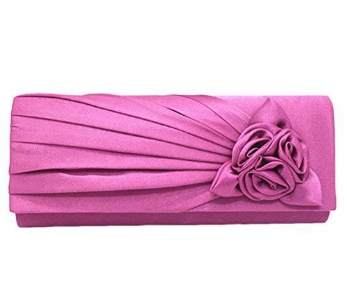 Nuziale Borsa Fiore Rosa Sacchetti di Sera Cena Frizioni per Donne Tracolla Borsa viola