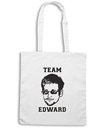 T-Shirtshock - Borsa Shopping FUN0196 08 02 2013 Team Edward Snowden T SHIRT det Bianco