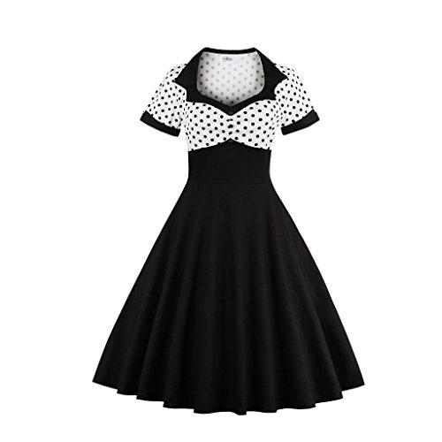 DISSA EEM1353 femme Vintage pin-up 50's 60's Robe de Soiré,Bal cocktail Rockabilly Swing Noir