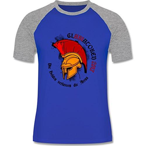 Abi & Abschluss - GlABIatoren 2017 - Die Helden verlassen die Arena - zweifarbiges Baseballshirt für Männer Royalblau/Grau meliert