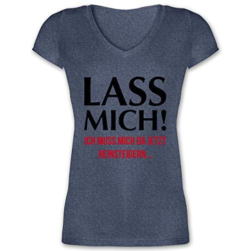 Statement Shirts - Lass Mich! Ich muss Mich da jetzt Reinsteigern - L - Dunkelblau meliert - XO1525 - Damen T-Shirt mit V-Ausschnitt