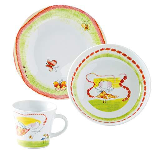 Kahla 32D200O76646C Kids Blumenfee | Porzellan Kindergeschirr-Set | Geschirr-Set für Mädchen bunt rund 3 teilig Set Tasse Suppenteller Teller