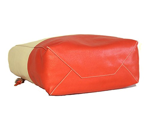 Borsa donna Vannini in vera pelle saffiano modello shopper beige/arancio