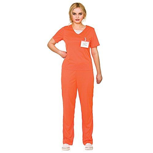 Adult's Women's Orange Convict Prisoner Shirt & Trousers Fancy Dress (Kostüme Fancy Womens Dress Uk)