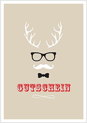 Moderne Coole lustige Weihnachtskarte als Gutschein Klappgrußkarte, Weihnachtsgutschein, Neujahrskarte mit Hirschgeweih, Brille, Schwarze Fliege und Schnurrbart in Creme/Natur. (Mit Umschlag) (1)