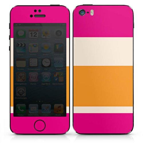 Apple iPhone 5 Case Skin Sticker aus Vinyl-Folie Aufkleber Streifen Pink Orange Bunt Muster DesignSkins® glänzend