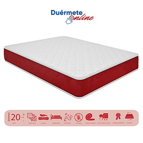 Duermete viscoelástico Lite Reversible colchón a 2 Caras, Muy Transpirable, Blanco, 80 x 180