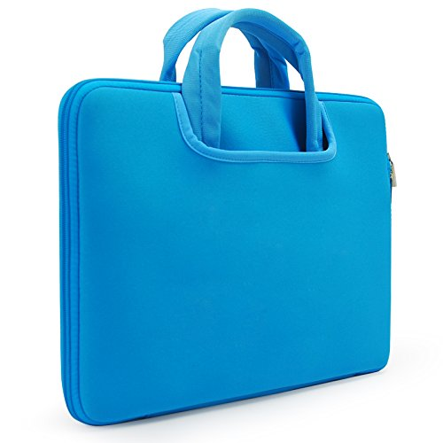 sinoguo-blue-neoprene-water-resistance-sleeve-briefcase-case-attached-one-pocket-outside-with-flanne