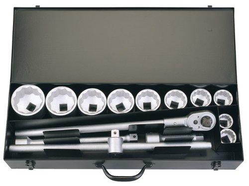 15 Stücke 2,54 cm Vierkantantrieb metrisch ELORA Steckschlüsselsatz – professionelle Qualität, hergestellt aus Chrom vanadium Stahl geschmiedet, vergütet und für besseren Korrosionsschutz zusätzlich verchromt.