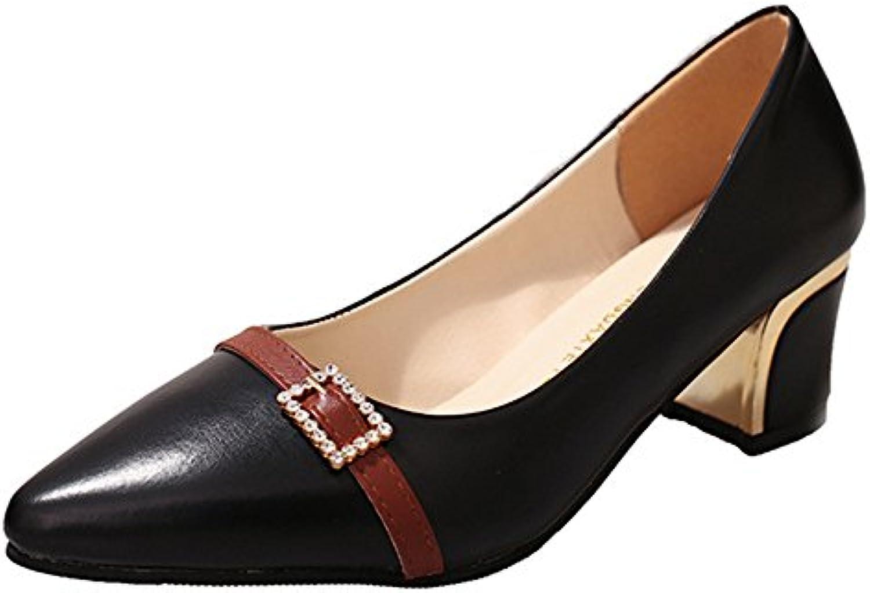 c773a2493373 Aisun Women s Chic Slip On Medium Chunky Heels Court Court Court Shoes  B078NTXH8H Parent 799776