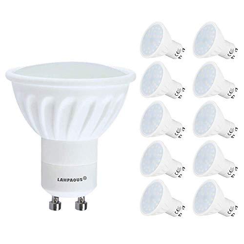 Lampaous LED GU10, Lot de 10 ampoules,GU10 LED culot,4000k blanc pur 450lm,5w led remplace parfaitement les ampoules halogènes ordinaires de 50w.