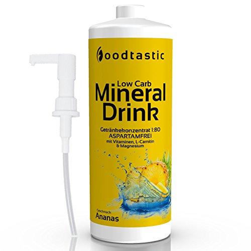 Foodtastic Low Carb Mineral Drink, 1000ml Flasche mit Dosierpumpe und 500ml Shaker, zuckerarm Vital Getränke Sirup Konzentrat 1:80 zum Mischen in Wasser, perfektes Bundle