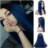Royalvirgin ombre parrucca blu scuro con radici capelli lunghi dritto parrucche nessuno pizzo per donne middle-part sintetico resistente al calore parrucche di ricambio
