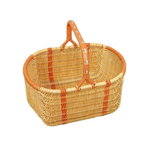 Handgewebte Bambus-Rattan-Picknick-Körbe Picknick-Küche im Freien tragbare Frucht-Einkaufen-Camping-Speicher-Geschenk-Hängende Körbe (Color : Yellow, Größe : 14.96 * 9.84 * 12.99inchs) -