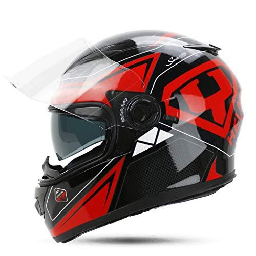 Preisvergleich Produktbild JiaoLiao Abnehmbare Helm Multi-Funktions-Doppellinse Motorrad Männer und Frauen Full Cover Belüftung Design zur Stärkung der Shell (Farbe : Black red Racing,  größe : M)