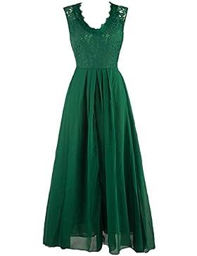 U8Vision Damen Elegant V-Ausschnitt Langes Abendkleid Spitzen Brautjungfer Cocktailkleid Chiffon Faltenrock Kleid...