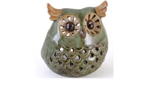 Approx Assorted Green//Beige Sunny Toys 13754 Ceramic Tea Light Holder in Owl Design 11 cm