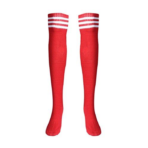Mädchen Sport Streifen Lange Socken,Amcool Über Knie Hohe Socken Baseball Eishockey Fußball (Rot, 66cm/26.0