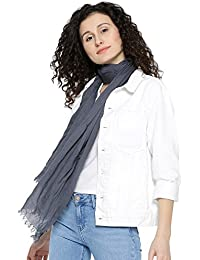 I AM FOR YOU Grey Cotton Solid Scarves For Women & Girls