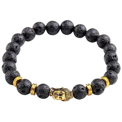 JSDDE Lava Armband,Unisex Zen-Buddhismus Armreif Energietherapie 8mm Lava-Stein Healing Wurzelchakra Yoga Buddha-Armband - #1 Gold Buddha-Kopf