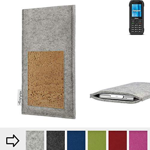 flat.design Handy Hülle Evora für Energizer H240S Made in Germany Handytasche Kartenfach Kork Filz Tasche Case