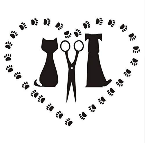 (Wiwhy Haustier Hund Und Katze Silhouette Abziehbilder Pflege Salon Wand Stickefopet Shop Abnehmbare Herz Wandtattoo Fenster Ration56X72Cm)