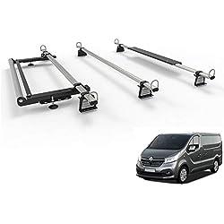 AutoRack Lot de 3 Barres de Toit pour Van Renault Trafic (à partir de 2014) avec kit de Rouleaux
