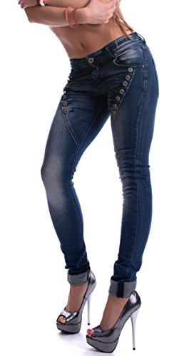 Mozzaar Damen Hose Pushup Jeans dunkelblau, Größe:XL-Maße beachten, Farbe:Blau (Skinny Girls Look Good In Clothes)