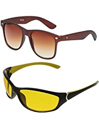 Vast Combo Of 2 Fashion All Day And Night Vision Biking, Driving And Sports Unisex Sunglasses (COMBO_B22331_BROWN_PREMIUM_C2...