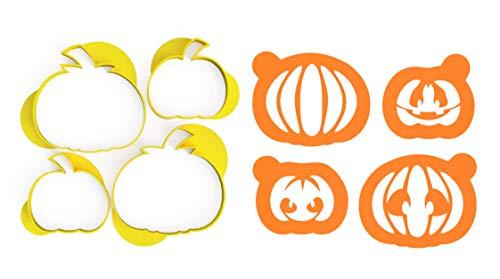 3DREAMS Keksausstecher Set Halloween Kürbisse inkl Stencil Schablone inkl 2 Rezepte aus Bio Kunststoff Made in Germany