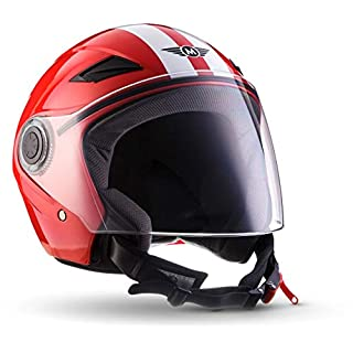 "Moto Helmets® U52 ""Racing Red"" · Jet-Helm · Motorrad-Helm Roller-Helm Scooter-Helm Bobber Mofa-Helm Chopper Retro Cruiser Vintage Pilot Biker Helmet · ECE Visier Schnellverschluss Tasche XL (61-62cm)"