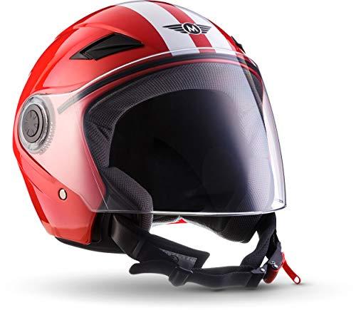 MOTO U52 Racing Red · Vintage Scooter-Helm Bobber Vespa-Helm Mofa Pilot Helmet Chopper Biker Roller-Helm Motorrad-Helm Retro Cruiser Jet-Helm · ECE zertifiziert · mit Visier · inkl. Stofftragetasche · Rot · M (57-58cm)