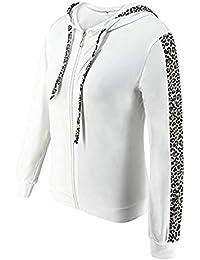 MXJEEIO Chandal Conjunto con cordón y Estampado de Leopardo para Mujer Moda Otoño Invierno Casual Conjuntos Deportivos Manga Larga Sweatshirt Sudadera con Capucha + Pantalones 2pcs