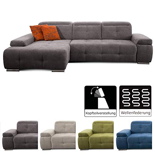 CAVADORE Ecksofa Mistrel mit Longchair XL links / Große Eck-Couch im modernen Design / Inkl. verstellbaren Kopfteilen / Wellenunterfederung / 273 x 77 x 173 / Grau