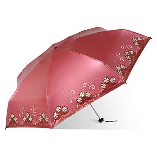 Parasole ombrello tascabile leggero e compatto, facile da trasportare ombrellone thansandau (colore : rosso mattone)