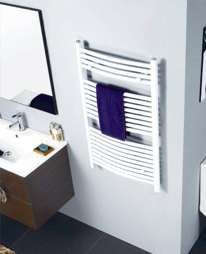 SixBros. R20 Badheizkörper (1200 x 500 mm, Watt 652) - Ovaler Heizkörper mit Handtuchhalter für das Bad - pulverbeschichtet - weiß - Glanz Weiß Pulverbeschichtet