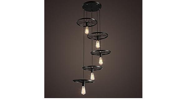 Plafoniere Industriali Diametro 30 : Sakkie lampadario a ruota stile vintage industriale 5 luci disco
