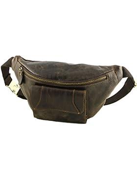 Bauchbeutel aus Leder - 2030 Dunkelbraun - Echtes Leder Taschen - Mega Tuscany
