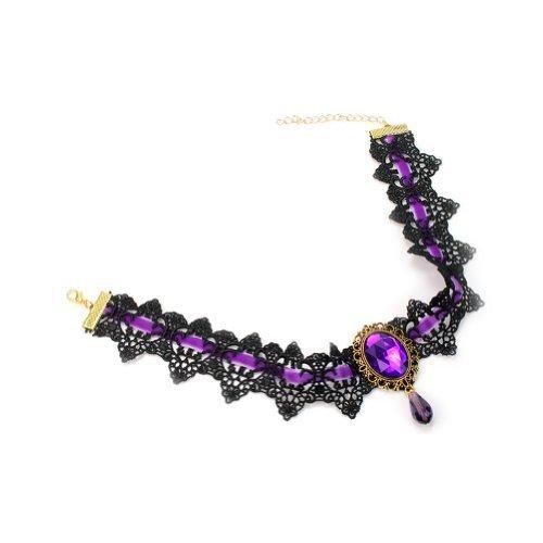 Vintage Collar Babero Gargantilla Purpúra Diamante Imitación Encaje