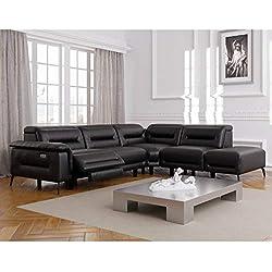 DecoInParis Canapé d'angle Relax électrique Orlando - Angle Droit (Noir)