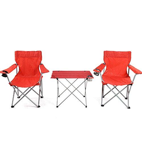 QIANGDA Camping Pliante Table avec Une Chaise Rouge Polyvalent Tissu d'Oxford Tuyau De Fer Roll-up dans Un Sac Voyage De Pêche Ensemble De 3/5 Pièces Optionnel (Taille : 3 Pieces Set)