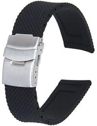22cm Impermeable Correa De Reloj De Silicona Banda De Reloj Con Despliegue Hebilla
