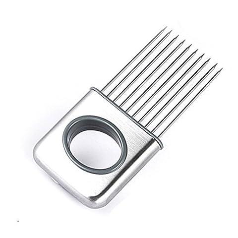 Support d'oignon Légumes pommes de terre Cutter Trancheur Gadget Fourchette en acier inoxydable trancher Chef Helper Safety ustensile de cuisine Aid Gadget de coupe Chopper