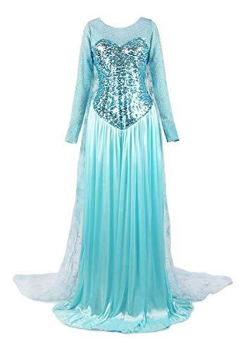 ReliBeauty Damen Elsa Prinzessin Kleid Bodenlang Rundausschnitt Pailletten Fasching Cosplay Kostüm, Hellblau, 42-44 (Dunkler Karneval Kostüm)