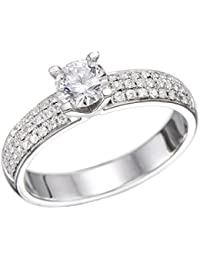 14K Gold / White 1ct GIA Certified Diamond Engagement Ring Round Cut J Color VS1 Clarity